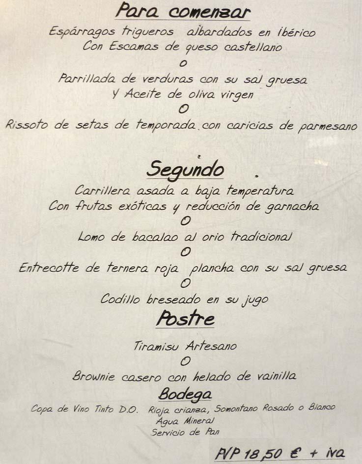 Menu  Euros Restaurant