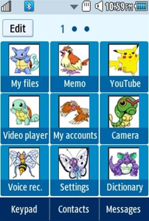 Anime Pokemon Samsung Corby 2 Theme Menu