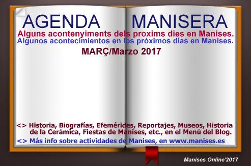 AGENDA MANISERA, MARÇ 2017