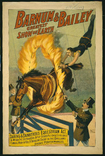 circus, classic posters, free download, graphic design, retro prints, vintage, vintage posters, The Barnum & Bailey Greatest Show on Earth, Daring & Dangerous Equestrian Act - Vintage Circus Poster