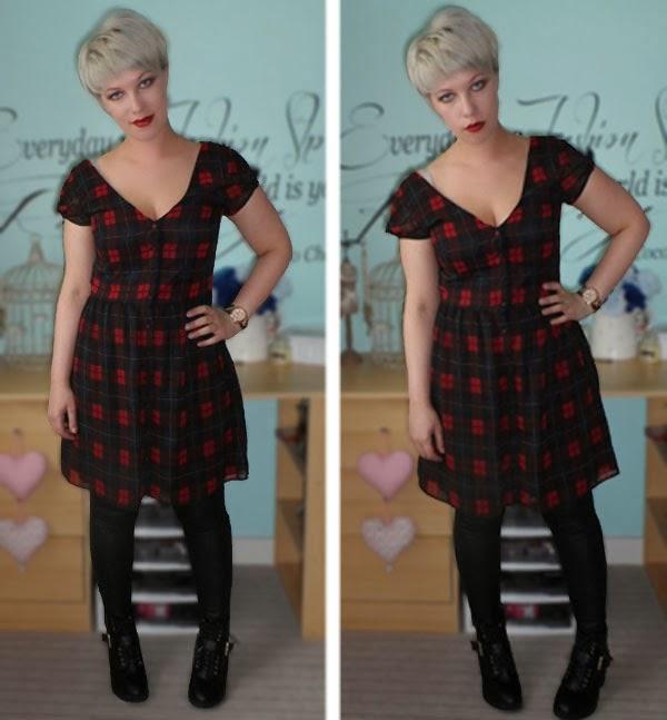 Zara Plaid Dress, Punk, Primark Ankle Boots
