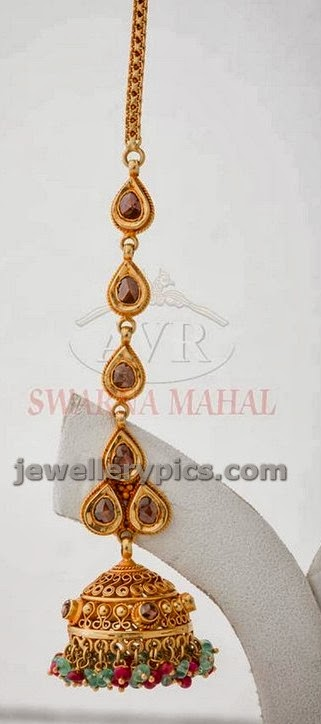 uncut diamond mang tikka design with jhumka bottom by avr swarnamahal