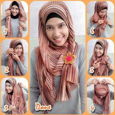 Model 2.Cara Memakai Hijab Pashmina