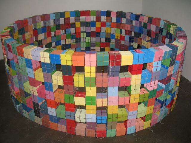 Round Cube Wall, Kate Mackay, Factory 49, art, sculpture, painting, geometric abstraction, non objective