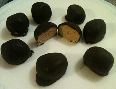 Chocolate Coated Peanut Butter Protein Balls