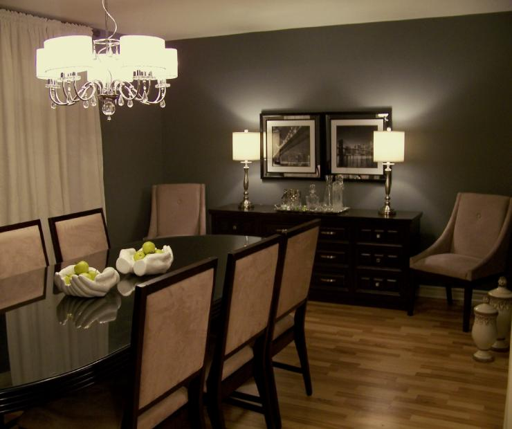 Inspirational eye candy gray dining rooms for Dark grey dining room