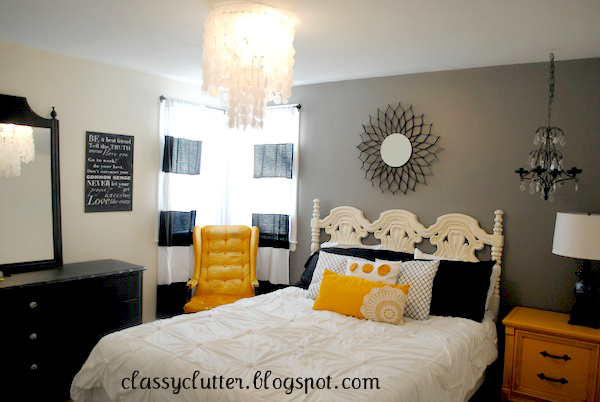 Black And Yellow Master Bedroom Makeover Classy Clutter