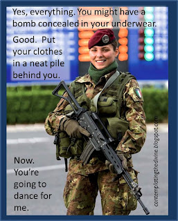Captioned image of sexy female soldier making you strip