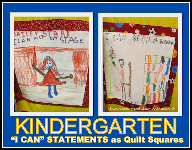 "photo of: Kindergarten ""I Can"" Quilt Square Drawings via RainbowsWithinReach Quilt RoundUP"