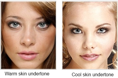 Warm and cool skin tones based on the undertones. Image courtesy of thehairstyler.com