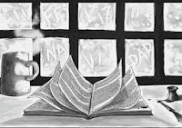 libro, nieve, ventana, navidad