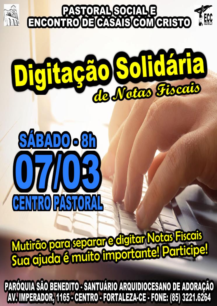Digitação Solidária de Notas Fiscais: Dia 07/03