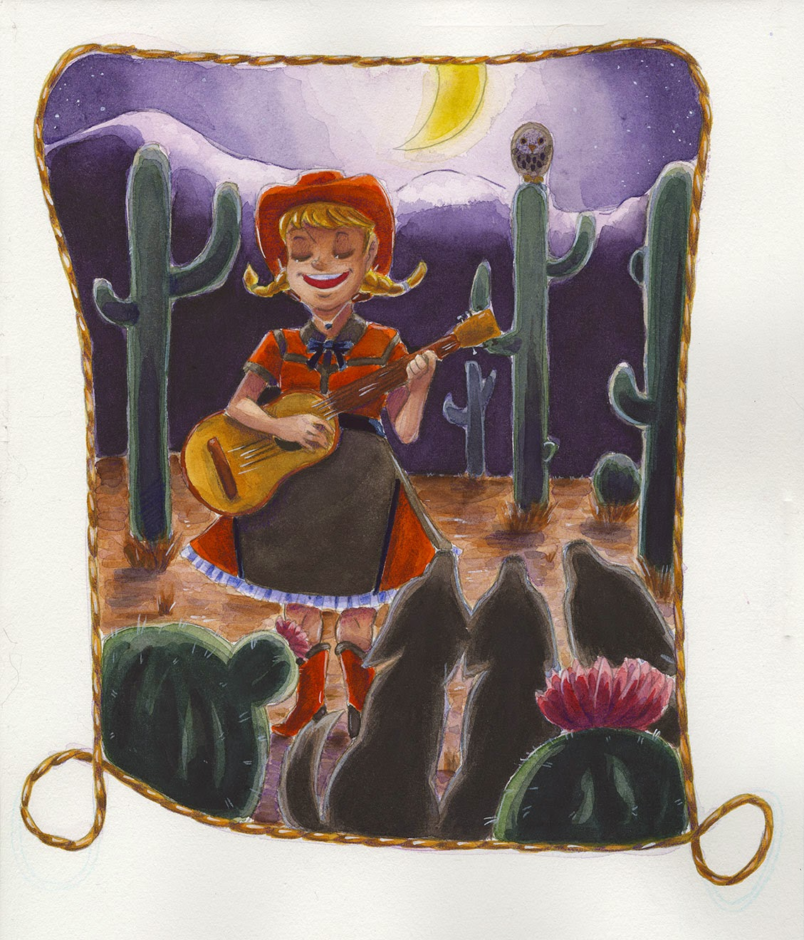 watercolor, Nattosoup Studio, illustration, cowgirl, western wear, coyotes, guitar