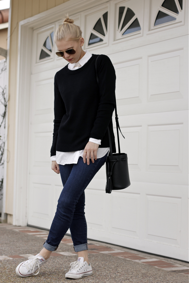 Shae Roderick, outfit, style, OC Blogger, collared shirt, black sweater, dress code