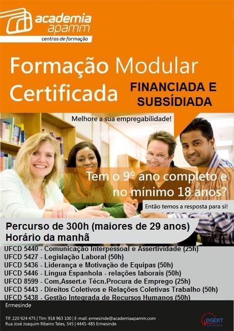 Formação financiada e subsidiada para desempregados em Ermesinde