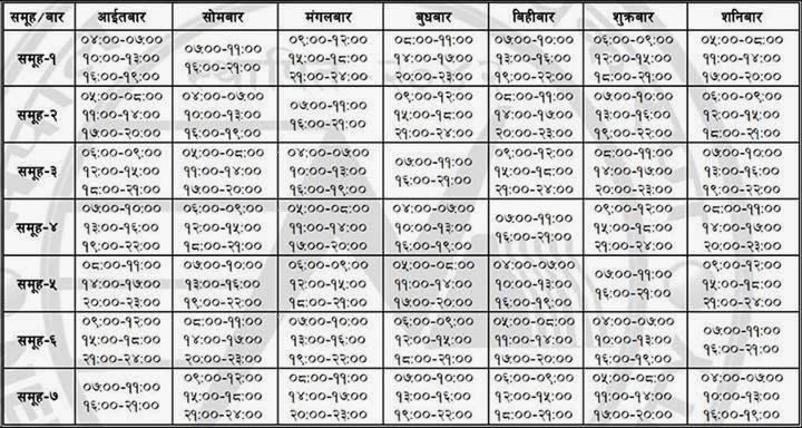 Poush 2,2070 New LoadShedding Schedule Nepal Nepal Electricity