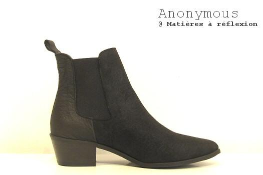 Boots noires cuir et daim Anonymous