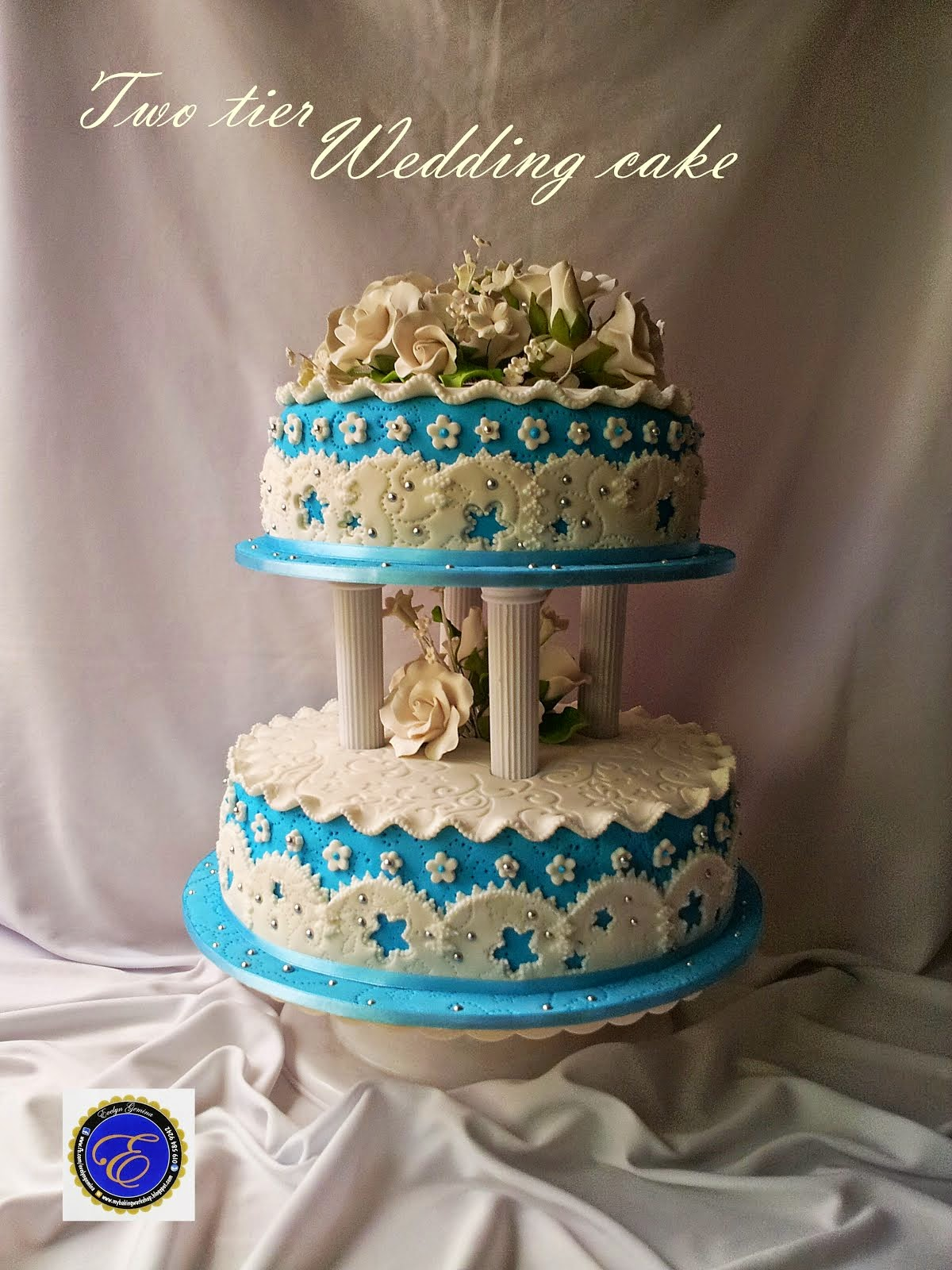Two tier Fondant Wedding Cake (White & blue)