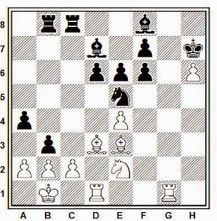 Partida de ajedrez Nezhmetdinov - Taimanov, 1951, posición después de 33…b3!