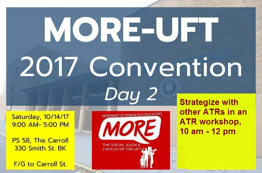 Join MORE-UFT on 10/14 for an ACRs' & ATRs' Workshop