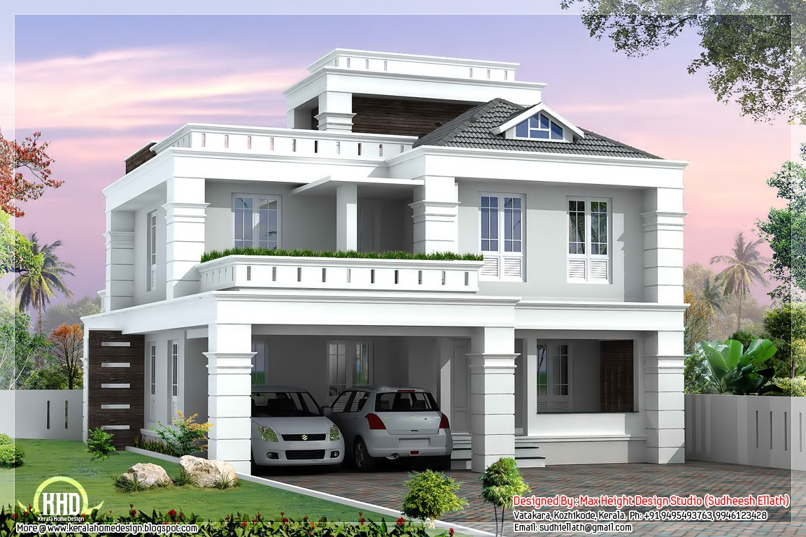 4 bedroom modern home design 2550 kerala home for Modern house plans for 1600 sq ft