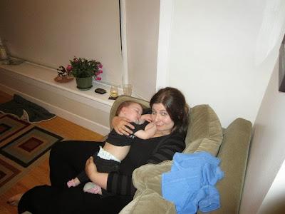 sleeping girl with mom