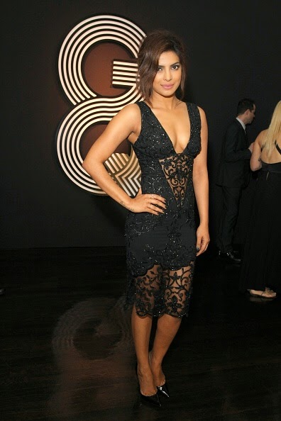 Priyanka Chopra in Black Net Dress at GRAMMY After Party