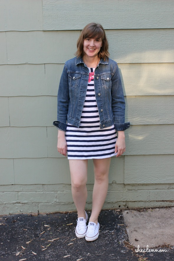 Jean Jacket with Striped Dress | www.shealennon.com