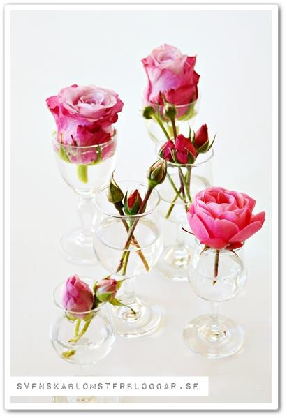 blommor i glas, udda glas som vas