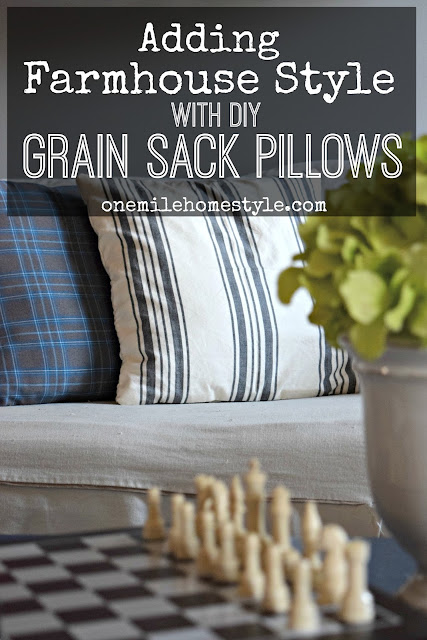 Adding Farmhouse Style with Grain Sack Pillows Made From Cloth Napkins - One Mile Home Style