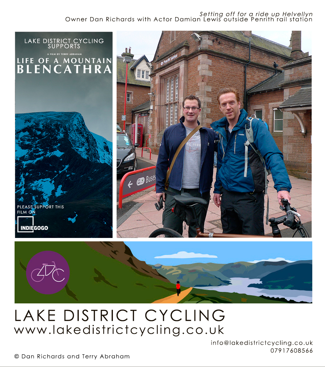 actor damian lewis lake district cycling cumbria helvellyn