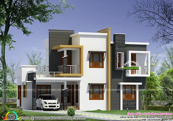 Box type modern house plan kerala home design and floor for Types house designs