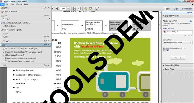 Unlock PDF to print