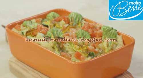 Fusilli gratinati con zucchine e fiori di zucca ricetta Parodi per Molto Bene su Real Time