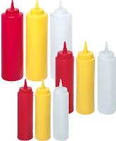 Sticla dozatoare din plastic galbena, rosie si transparenta - Ø 50x(H)185 mm 20 cl, Ø 55x(H)205 mm 35 cl,Ø 70x(H)240 mm 70 cl