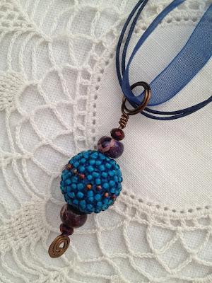 Beaded bead pendant  by Karen Williams