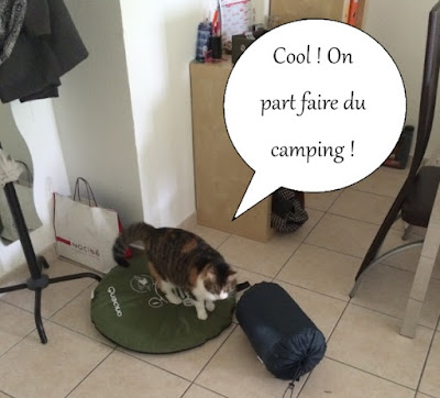 Chatte isabelle part faire du camping.