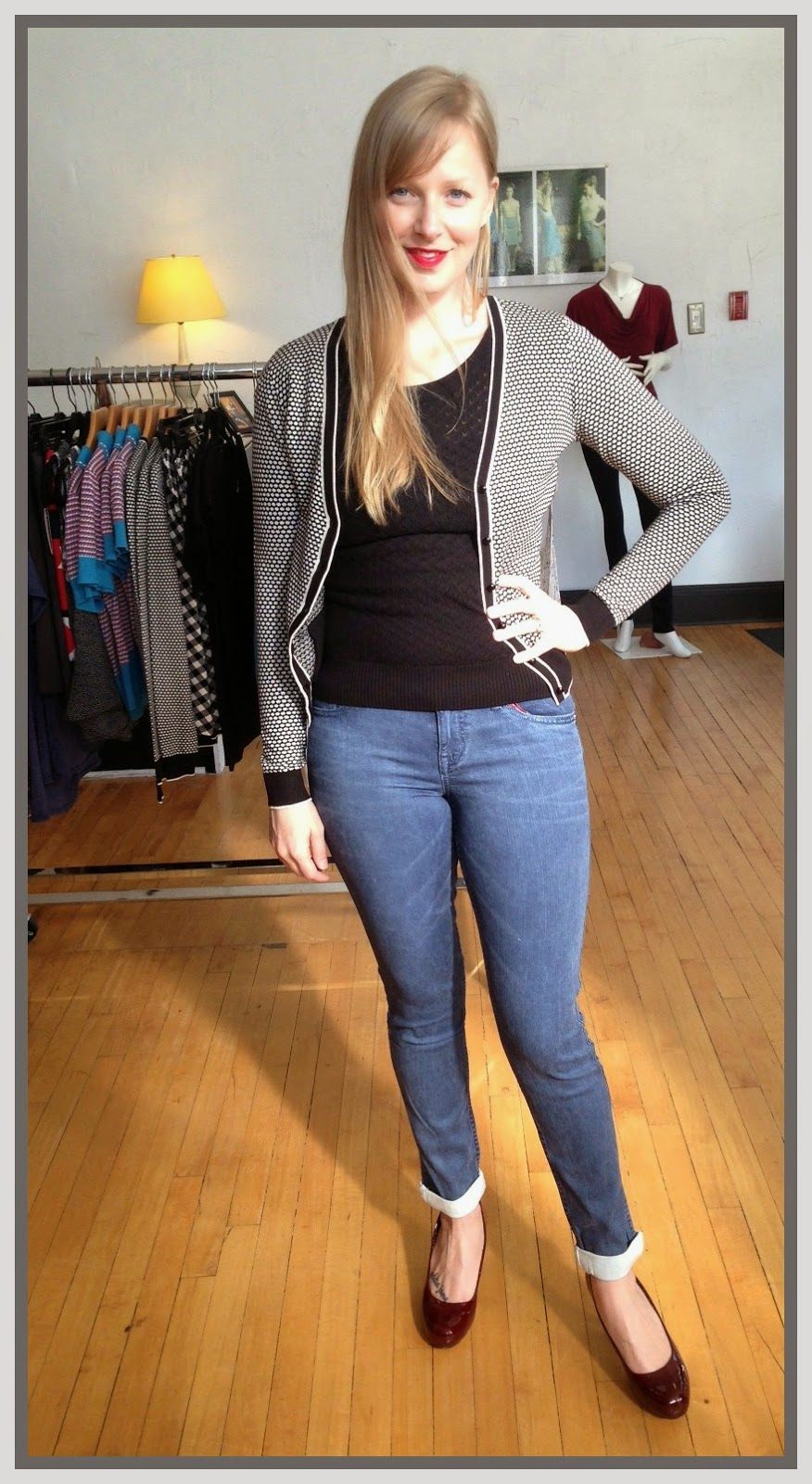 Louie et Lucie zigzag boatneck top ($78), beehive v-neck cardigan ($88), Level 99 jeans ($140) at folly