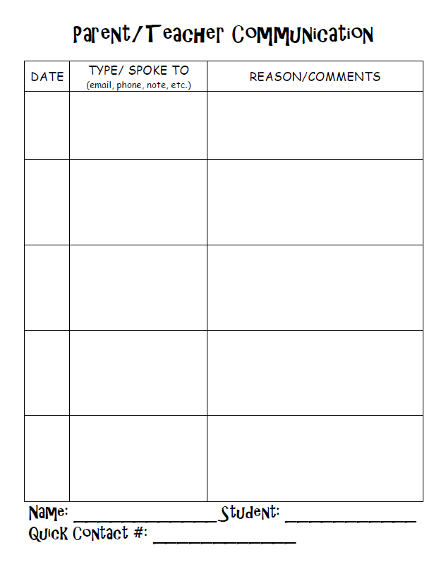 Teacher Parent Communication Log Template Pictures to Pin on – Communication Log Template