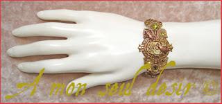 bracelet steampunk mouvement de montre mécanique mécanisme bronze horlogerie scarabée insecte cuivre
