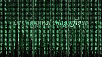 """Cette image est issue de l'univers du film de science-fiction culte """"Matrix"""" réalise en 1999 par les freres Larry et andy Wachowski, dont les synopsis est le suivant : Thomas A. Anderson, un jeune informaticien connu dans le monde du hacking sous le pseudonyme de Neo est contacte via son ordinateur par ce qu'il pense etre un groupe de hackers informatiques. Ils lui font decouvrir que le monde dans lequel il vit n'est qu'un monde virtuel dans lequel les etres humains sont gardes sous contrôle par des machines qui se servent des humains comme sources d'energie, telles de vulgaires piles. Morpheus, le capitaine du Nebuchadnezzar, contacte Neo et pense que celui-ci est l'Elu qui peut liberer les etres humains du joug des machines et prendre le controle de la matrice en percevant le code qui la regit et en le manipulant. L'image utilisée par Le Marginal Magnifique pour illustrer son poeme """"Matrice"""" represente les lignes de ce code telles qu'elle apparaissent dans le film, c'est a dire, des successions verticakes de lettres aux differentes nuances de vert sur fond noir. Dans son poeme Le Marginal Magnifique explique qu'il est different des autres ecrivains celebres qui passent a la tele car lui a subi de reelle souffrances, il connait l'existence et la société et peut en percevoir le fonctionnement comme Neo le fait de la Matrice."""