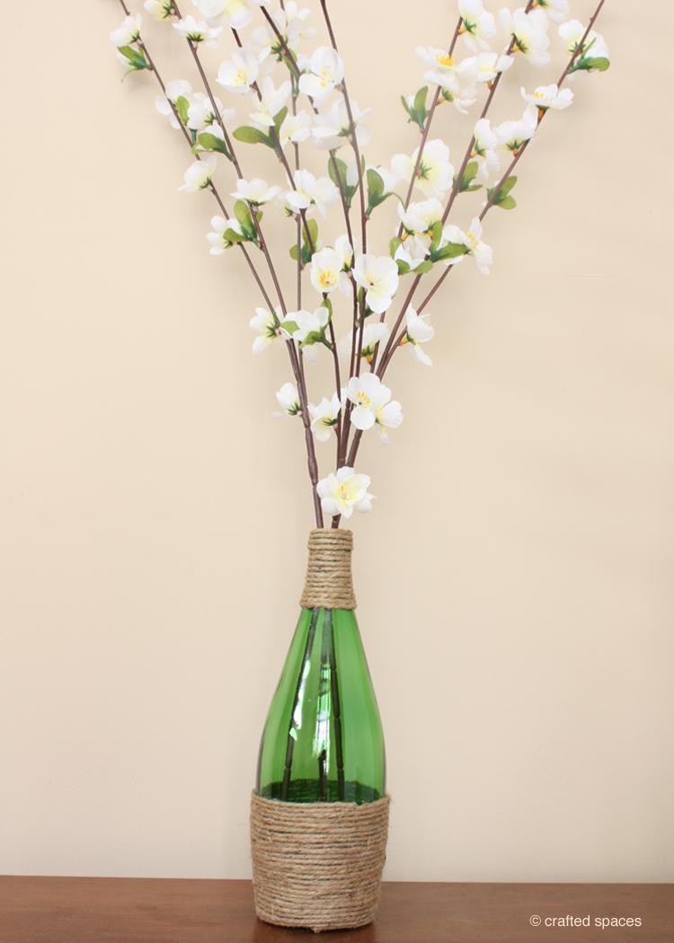 Crafted spaces recycled glass bottle vase for Recycled glass art projects