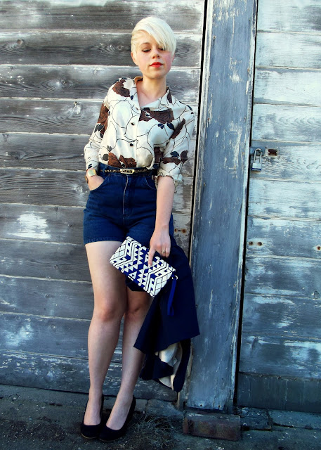 vintage, blouse, seattle street style, summer, fashion, blonde, short hair, fleur d'elise