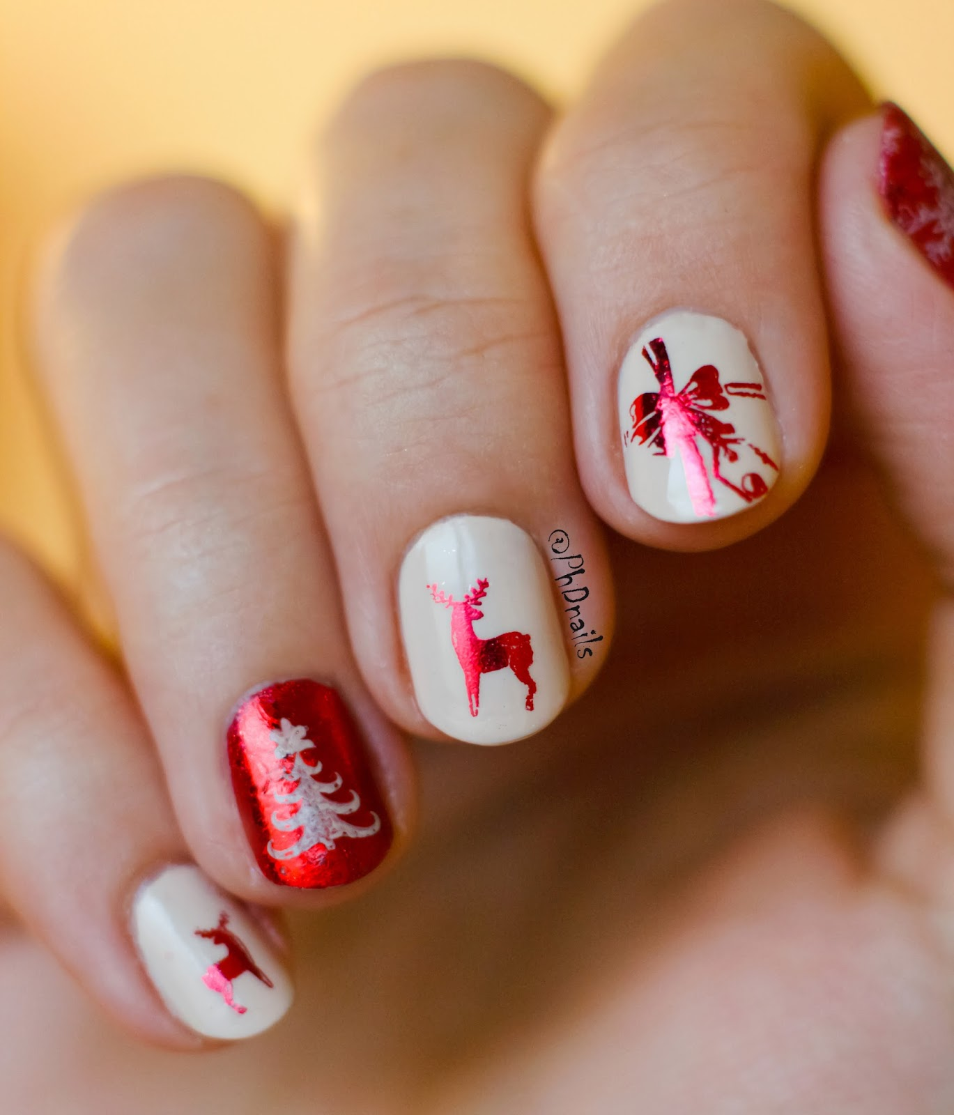 Reindeer Nail Art: PhD Nails: Reindeer Wrapping Paper Inspired Nail Art With