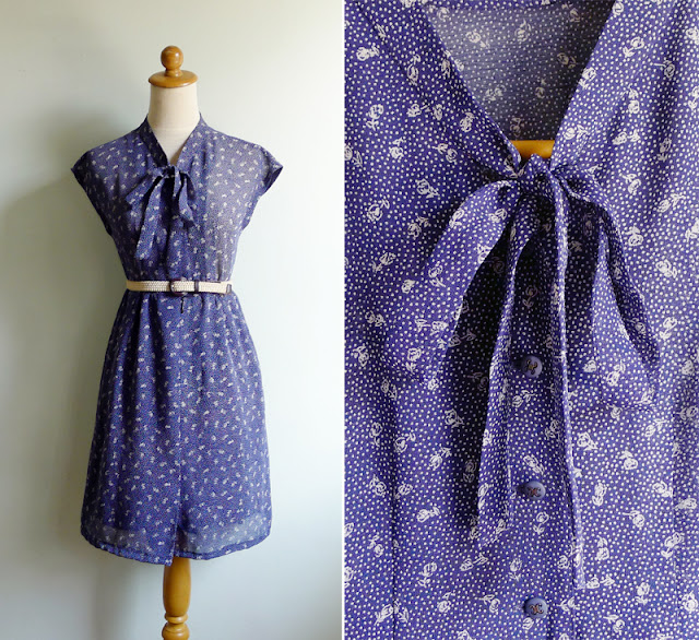 vintage navy blue ascot bow dress
