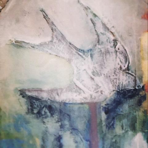 Detail- Through the Thinning Veils, Galia Alena, mixed media painting