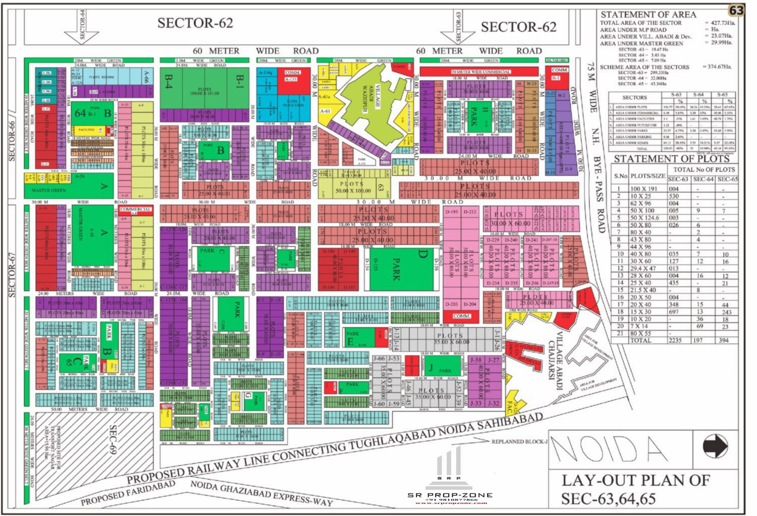 Layout Plan Of Noida Sector 63 64 65 Hd Map