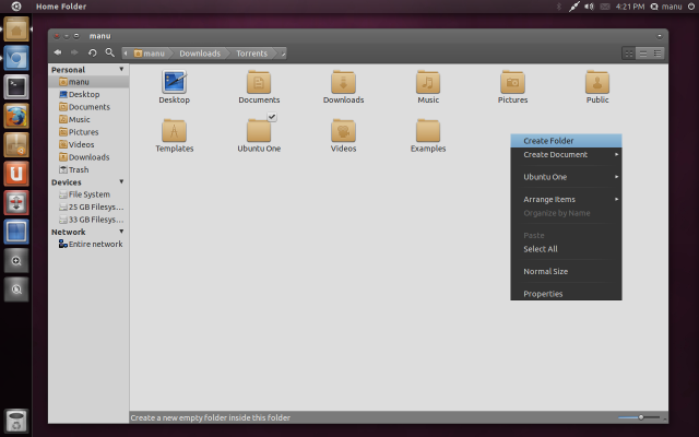 Equinox Evolution themes + Faenza icon theme in Ubuntu 11.04 Natty