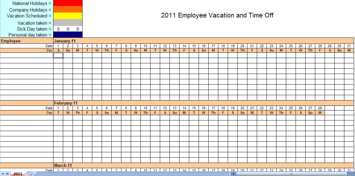 Employee Attendance Planner and Tracker template