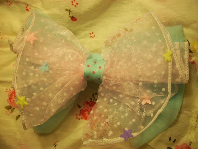 pizza-kei cute pizza kei kawaii lolita 52 lolita fashion japan japanese j-fashion alternative bow headbow ribbon holic ribbonholic ann anni ani chiffon transparent stars cute big clip pin